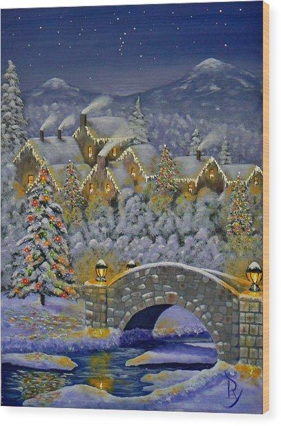 Christmas Village Wood Print
