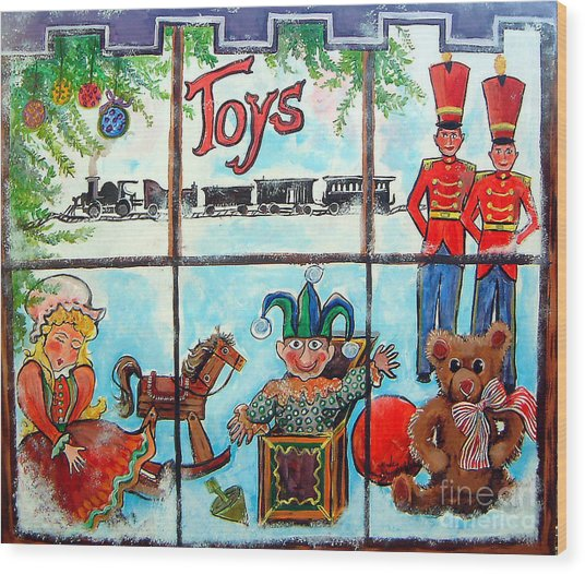 Christmas Window Wood Print