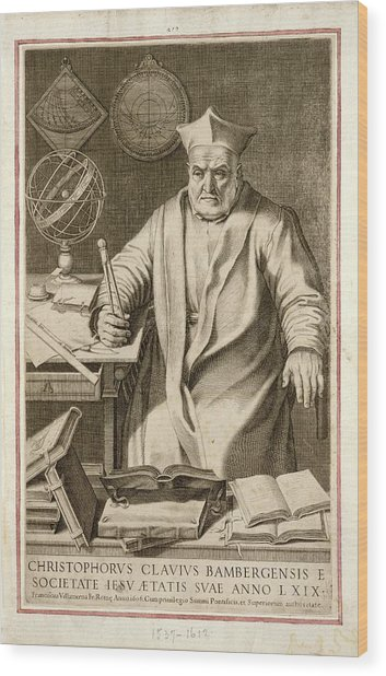Christopher Clavius Wood Print by Joseph Muller Collection /new York Public Library