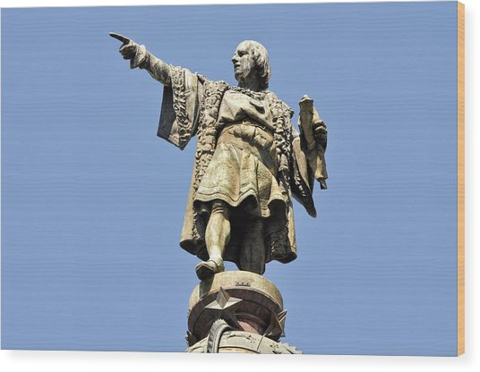 Christopher Columbus Day Statue Wood Print