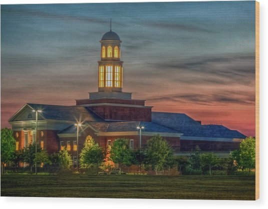 Christopher Newport University Trible Library At Sunset Wood Print