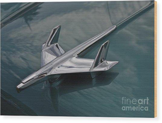 Chrome Airplane Hood Ornament Wood Print