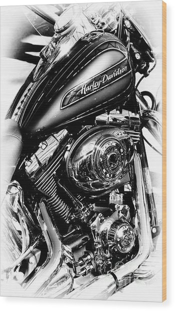 Chromed Harley Monochrome Wood Print