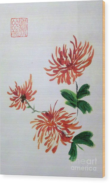 Chrysanthemums Wood Print