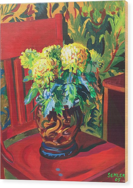 Chrysanthemums On Red Chair Wood Print