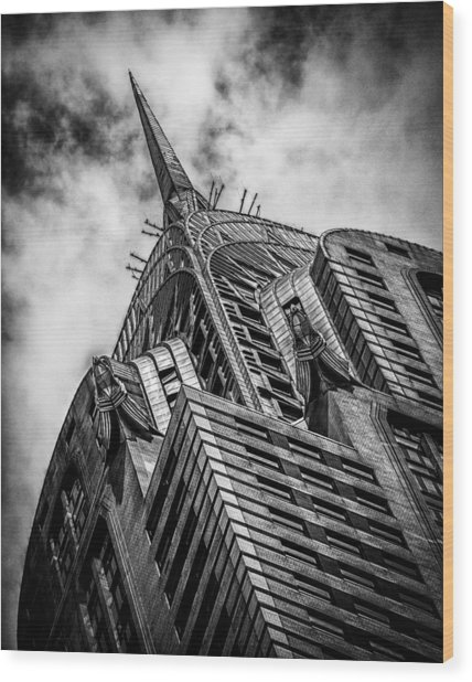 Chrysler Building - Black And White Wood Print