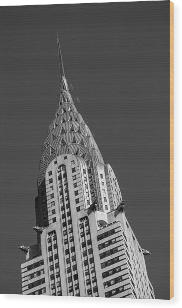 Chrysler Building Bw Wood Print
