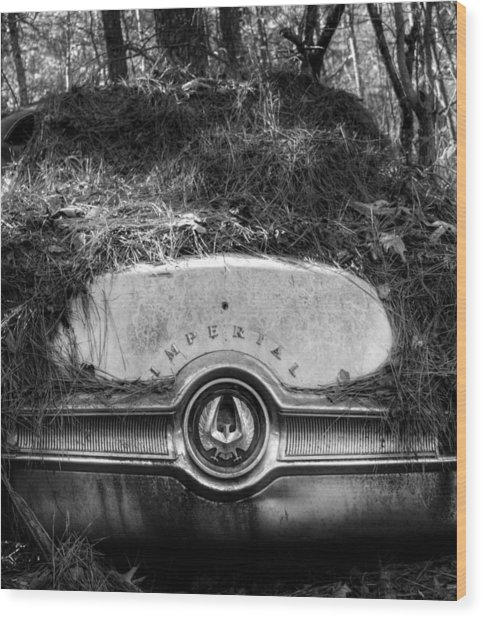Chrysler Imperial In Black And White Wood Print