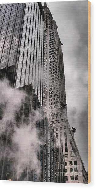 Chrysler Building With Gargoyles And Steam Wood Print