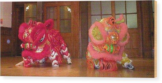 Chua Truc Lam Two Dragons - Dry Brush Wood Print by Shawn Lyte