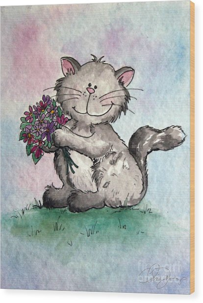 Chubby Kitty With Flowers Wood Print