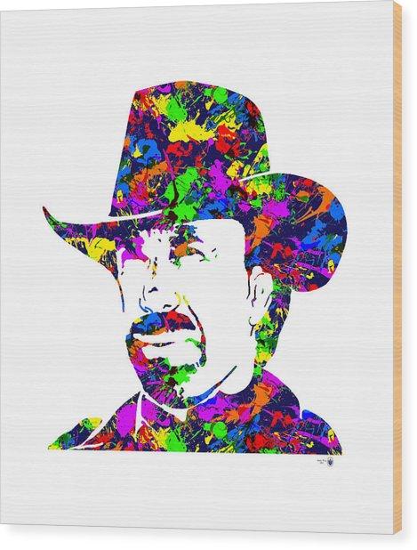 Chuck Norris Paint Splatter Wood Print