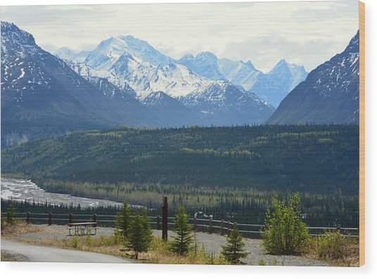Chugach Mountains Wood Print