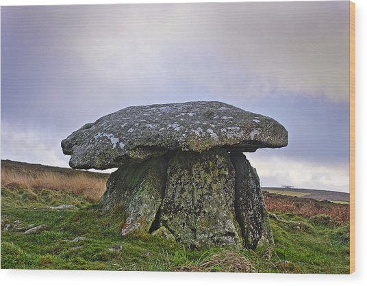 Chun Quoit An Ancient Burial Chamber On The Moors Of Cornwall Wood Print