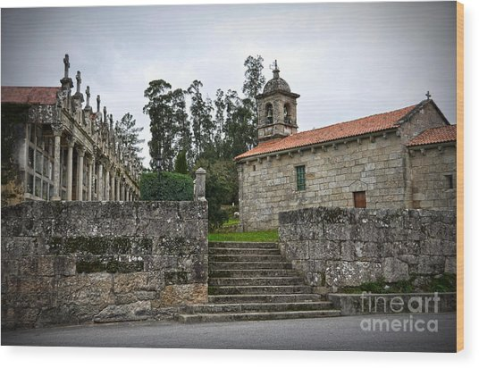 Church And Cemetery In A Small Village In Galicia Wood Print