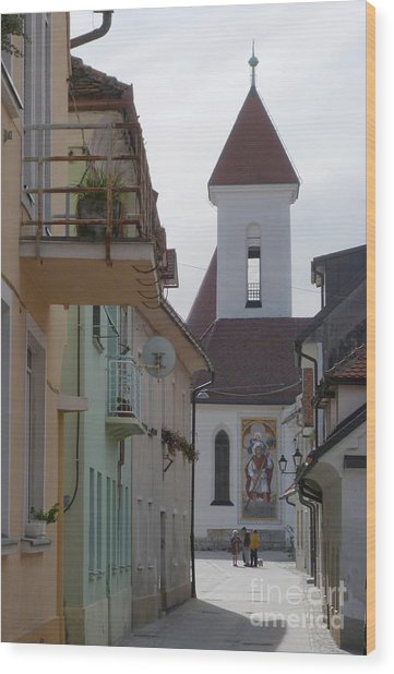 Church And Houses - Kranj - Slovenia Wood Print by Phil Banks