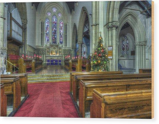 Church At Christmas V3 Wood Print
