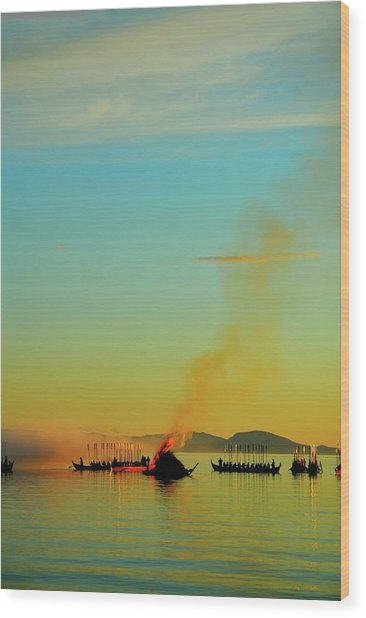 Church Boats On The Lake Siljan Wood Print