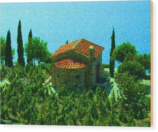 Enchanted Church Between Sea And Nature Wood Print