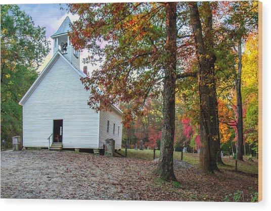 Church In Fall Wood Print