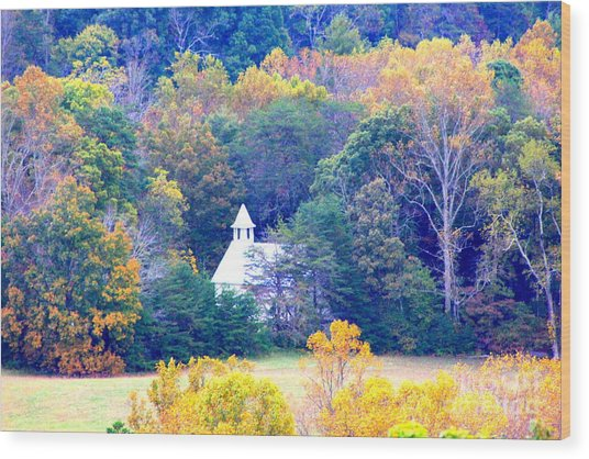 Church In Cades Cove Wood Print