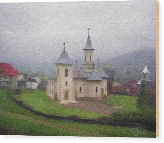 Church In The Mist Wood Print