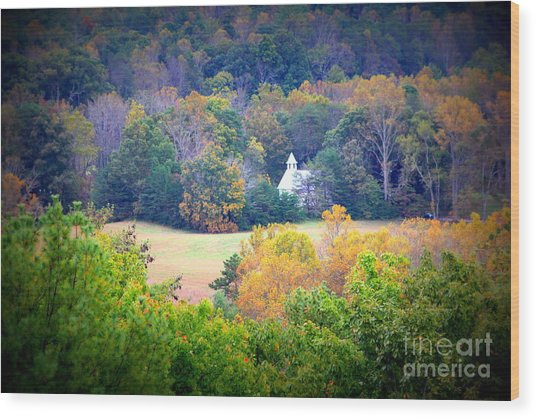 Cades Cove Church In The Woods Wood Print