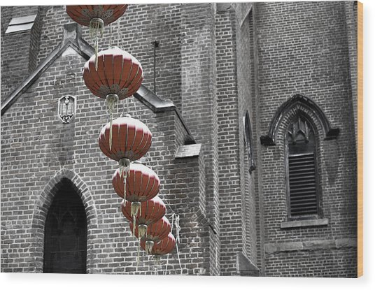 Church Lanterns Wood Print