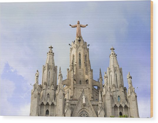 Church Of The Sacred Heart Tibidabo Barcelona  Wood Print