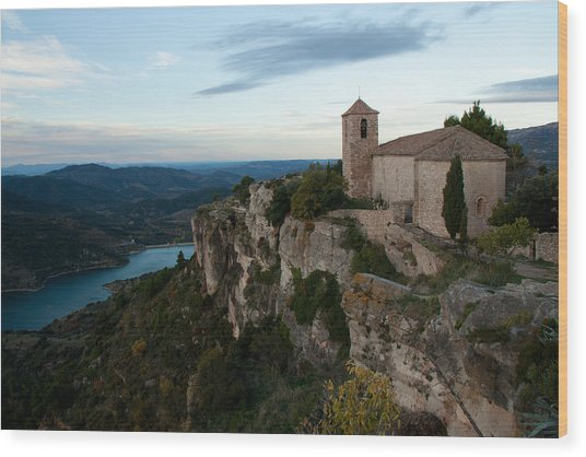 Church On Cliff By River Wood Print by David Oliete