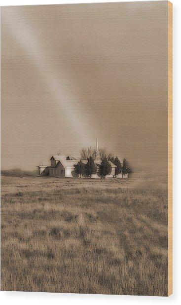 Church On The Prairie Wood Print