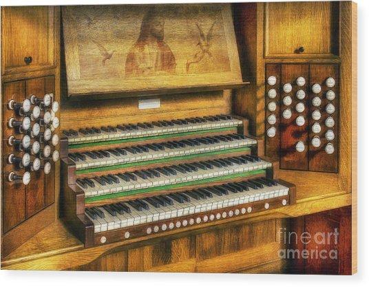 Church Organ Art Wood Print