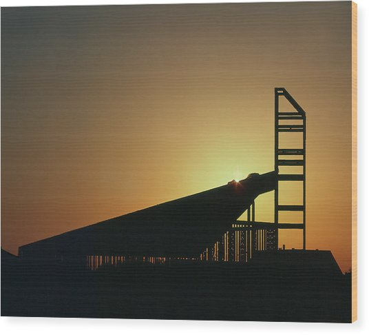 Church Structure At Sunrise Wood Print