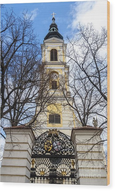 Wood Print featuring the photograph Church Tower With Wrought Iron Gate  Grossweikersdorf Austria by Menega Sabidussi