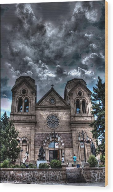 Church Under An Angry Sky Wood Print