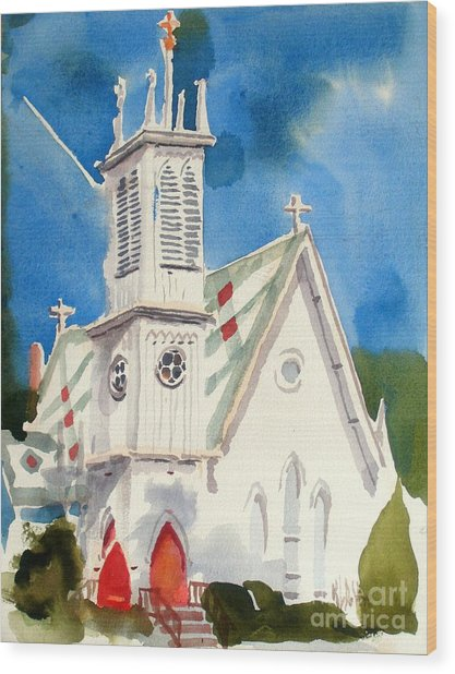 Church With Jet Contrail Wood Print