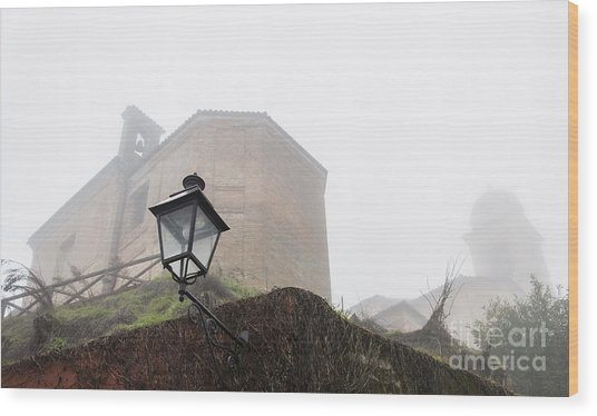 Churches In The Fog Wood Print
