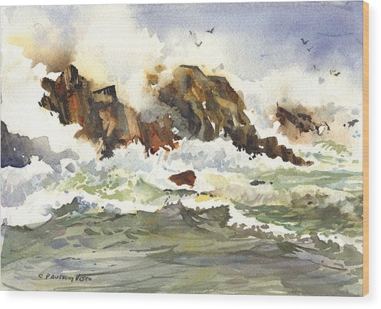 Churning Surf Wood Print