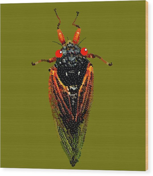 Cicada In Green Wood Print