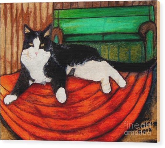 Cici The Cat Wood Print