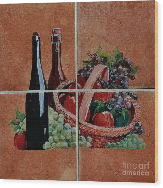 Cider And Apple Basket Wood Print