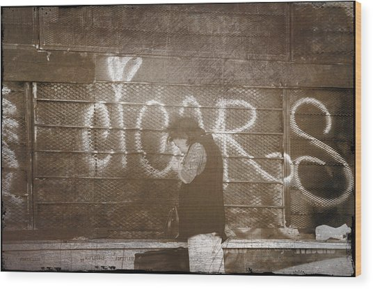 Cigars Only Wood Print
