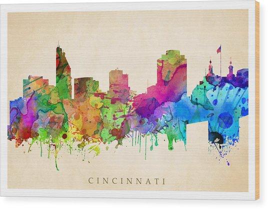 Cincinnati Cityscape Wood Print