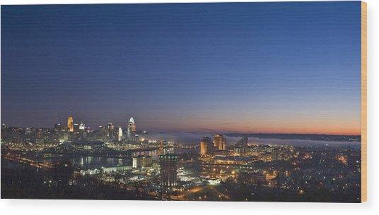 Cincinnati Dawn Wood Print