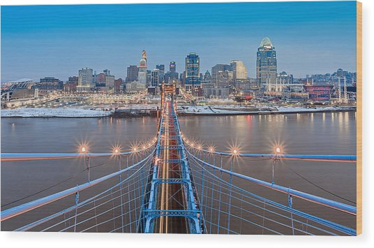 Cincinnati From On Top Of The Bridge Wood Print