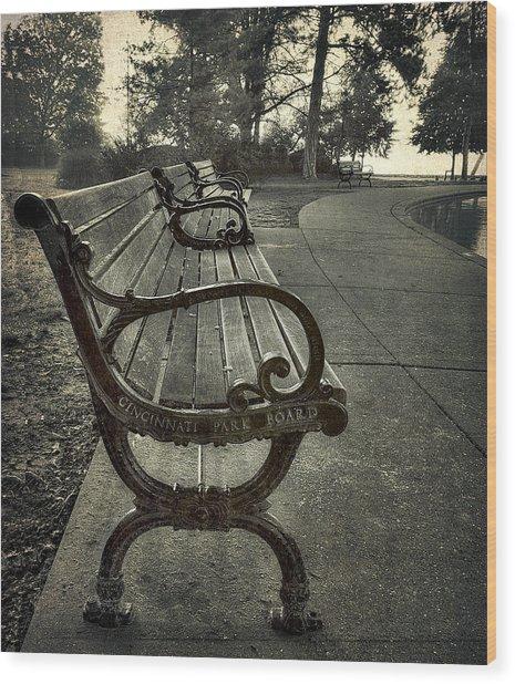 Cincinnati Park Board Bench At Eden Park Wood Print