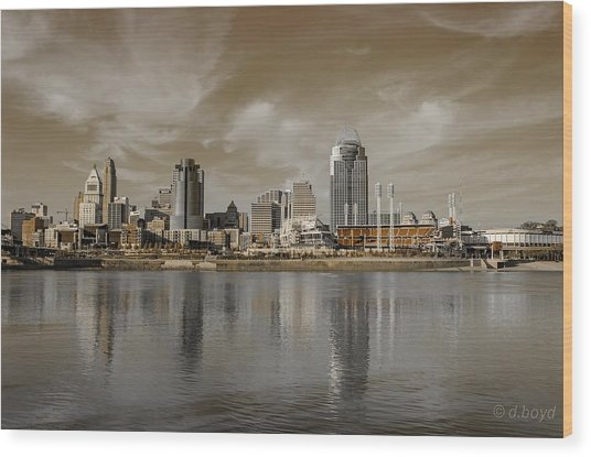 Cincinnati Riverfront Wood Print