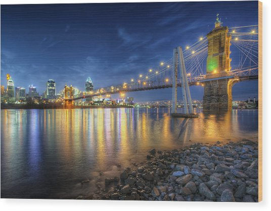 Cincinnati Skyline And Bridge At Night Wood Print