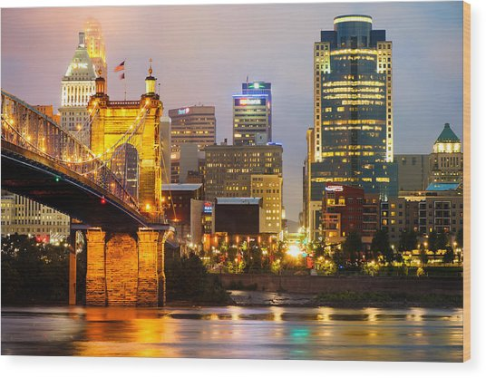 Cincinnati Skyline And The John A. Roebling Suspension Bridge Wood Print