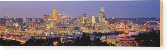 Cincinnati Skyline At Dusk Sunset Color Panorama Ohio Wood Print